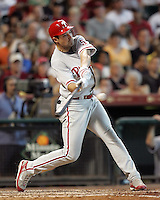 Phillies OF Pat Burrell on Sunday May 25th at Minute Maid Park in Houston, Texas. Photo by Andrew Woolley / Four Seam Images.
