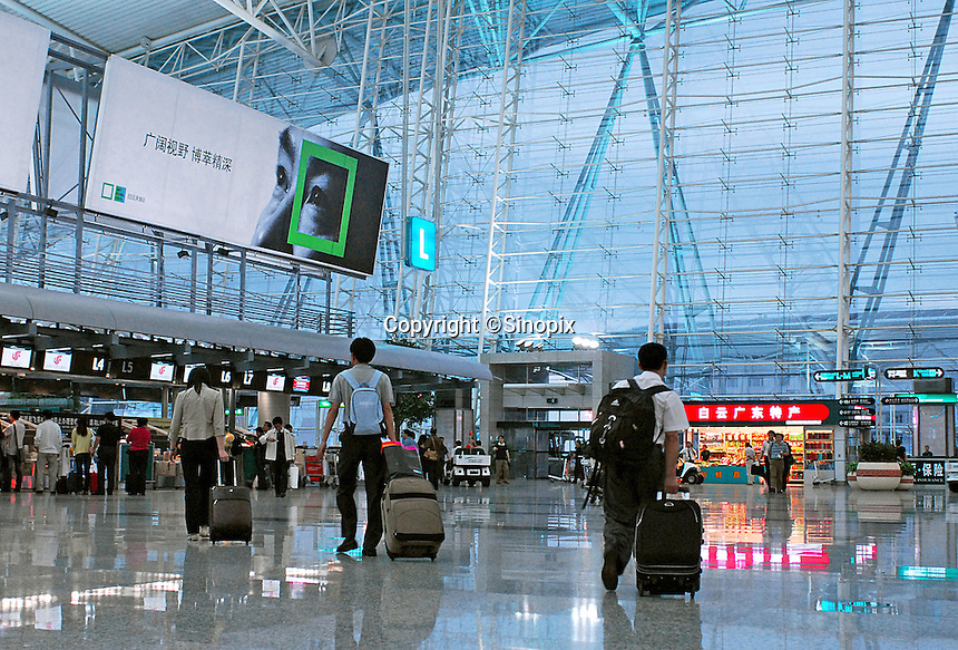 Guangzhou's Baiyun International Airport, Guangzhou, China. The new airport has received over 23.5 million passengers this year and it has become one of the top 50 airports in the world. The south China air hub is going to inaugurate 50 new international lines in the coming five years. In 2006-2010, the provincial airport group plans to invest 11.4 billion yuan to expand the airport. The airport aims to become world's top 20 airport by the year 2015..