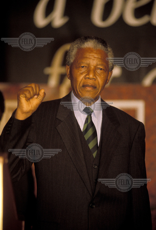 Nelson Mandela at a party in the Carlton Hotel.