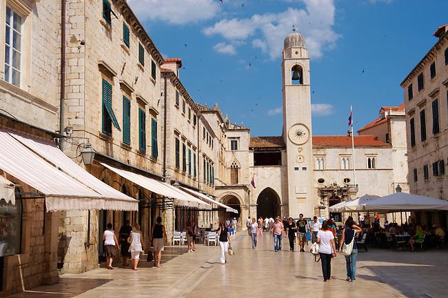 Stock photos of Placa (Stradum) - Main street in Dubrovnik looking towards the Bell tower - Croatia