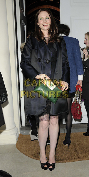 Sophie Ellis Bextor.attended the Diet Coke 30th birthday party, Sketch, Conduit St., London, England..January 30th, 2013.full length black dress coat netting smiling laughing chiffon green clutch bag peep toe shoes .CAP/CAN.©Can Nguyen/Capital Pictures.