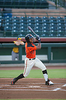 AZL Giants center fielder Heliot Ramos (31) follows through on his swing against the AZL Athletics on August 5, 2017 at Scottsdale Stadium in Scottsdale, Arizona. AZL Athletics defeated the AZL Giants 2-1. (Zachary Lucy/Four Seam Images)