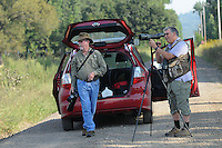 NWA Democrat-Gazette/FLIP PUTTHOFF <br /> David Oakley of Springdale (left) and Joe Neal of Fayetteville stop Sept. 16 2016 at Frog Bayou Wildlife Management Area near Alma to look for birds. Neal has a birding route in the Arkansas River Valley that includes several stops to see birds on land and water. Oakley is an expert on dragonflies and enjoys photographing them, as well as birds.