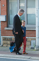 King Philippe of Belgium bring his son Prince Emmanuel to his 1st day of classes - Belgium