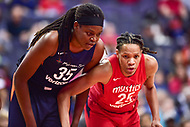 Washington, DC - June 3, 2018: Washington Mystics forward Monique Currie (25) and Connecticut Sun forward Jonquel Jones (35) wait on a free throw a tempt during game between the Washington Mystics and Connecticut Sun at the Capital One Arena in Washington, DC. (Photo by Phil Peters/Media Images International)