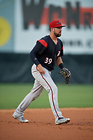 Richmond Flying Squirrels third baseman Zach Houchins (39) during an Eastern League game against the Bowie Baysox on August 15, 2019 at Prince George's Stadium in Bowie, Maryland.  Bowie defeated Richmond 4-3.  (Mike Janes/Four Seam Images)