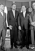 United States President John F. Kennedy meets Mayor Richard J. Daley (Democrat of Chicago) and officials from Illinois in the Oval Office of the White House in Washington, DC on July 11, 1962.  From left to right: US Representative Sidney R. Yates (Democrat of Illinois); President Kennedy; Mayor Daley; US Representative Thomas J. O&rsquo;Brien (Democrat of Illinois).<br /> Credit: Arnie Sachs / CNP