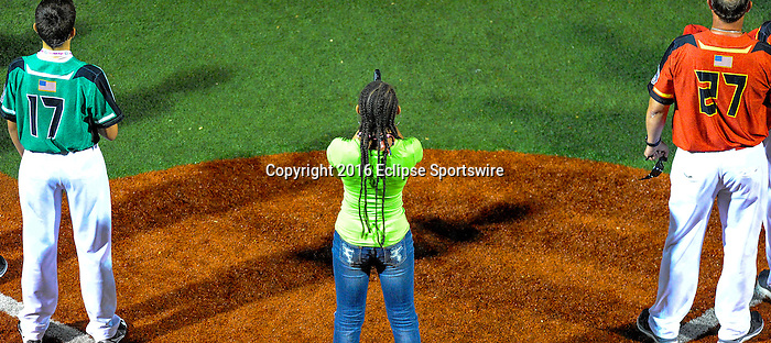 ABERDEEN, MD - AUGUST 01: Chekera Vertiz sings the National Anthem before a game between Pacific Southwest and Maryland during the Cal Ripken World Series at The Ripken Experience Powered by Under Armour on August 1, 2016 in Aberdeen, Maryland. (Photo by Ripken Baseball/Eclipse Sportswire/Getty Images)