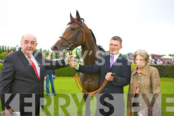 Her Majesty the Queen horse Four Winds with handler Matthew Morgan, John Buckley Killarney racecourse and Mrs Vincent O'Brien in the parade ring after been beaten by Aidan O'Brien horse Poet in the Vincent O'Brien Ruby stakes at the Killarney Races on Tuesday
