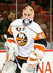 26 October 2009: New York Islanders' goaltender Martin Biron warms up prior to a game against the Montreal Canadiens at the Bell Centre in Montreal, Quebec, Canada. The Canadiens defeated the Islanders 3-2 in sudden death overtime for their 4th consecutive win. Mandatory Credit: Ed Wolfstein Photo