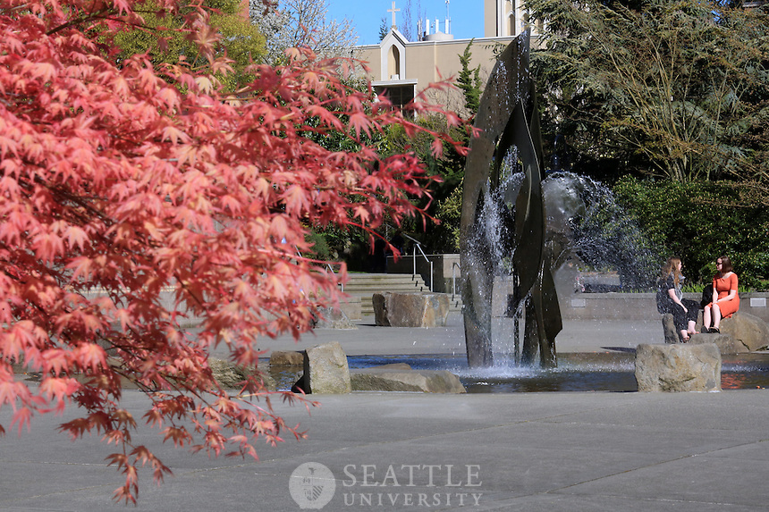 March 30th, 2016- The Quad area featuring the fountain on the Seattle University campus.