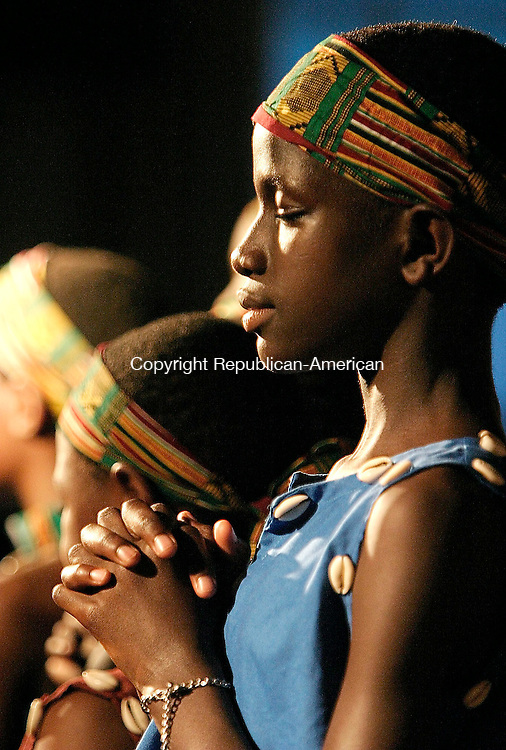 NAUGATUCK, CT - 17 JUNE 2005 -061705JS05--Members of the African Children's Choir performed during a concert Friday at the Hillside Covenant Church in Naugatuck. The grammy-nominated group, selected from thousand orphans and disadvantaged children in Africa, has dedicated its current tour to helping children who have lost one of both parents to AIDS or other diseases.  --Jim Shannon Photo--African Children's Choir, Hillside Covenant Church,  Naugatuck are CQ