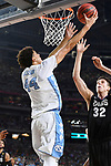 GLENDALE, AZ - APRIL 03: Justin Jackson #44 of the North Carolina Tar Heels shoots the ball during the 2017 NCAA Men's Final Four National Championship game against the Gonzaga Bulldogs at University of Phoenix Stadium on April 3, 2017 in Glendale, Arizona.  (Photo by Brett Wilhelm/NCAA Photos via Getty Images)
