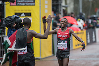 Bedan Karoki Muchiri of Kenya celebrates his second place finish with winner and team-mate Geoffrey Kamworor of Kenya during the IAAF World Half Marathon Championships 2016 in Cardiff, Wales on 26 March 2016. Photo by Mark  Hawkins / PRiME Media Images.