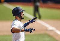 Eric Hosmer. homerun.<br /> Acciones del partido de beisbol, Dodgers de Los Angeles contra Padres de San Diego, tercer juego de la Serie en Mexico de las Ligas Mayores del Beisbol, realizado en el estadio de los Sultanes de Monterrey, Mexico el domingo 6 de Mayo 2018.<br /> (Photo: Luis Gutierrez)