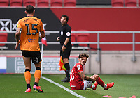 8th July 2020; Ashton Gate Stadium, Bristol, England; English Football League Championship Football, Bristol City versus Hull City; Jamie Paterson of Bristol City reacts after a tackle from Angus MacDonald of Hull City