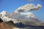 Eruption of ash cloud from lava dome of Shiveluch Volcano, Kamchatka, Russia.