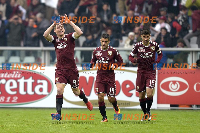 Esultanza Andrea Belotti Torino dopo gol 1-0, goal celebration,<br /> Torino 11-12-2016 Stadio Olimpico Grande Torino <br /> Fotball Calcio Serie A 2016/2017 Torino - Juventus  <br /> Foto Filippo Alfero Insidefoto