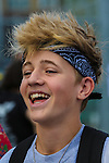 London, UK on Sunday 31st August, 2014. Bailey McConnell laughs as he arrives for the Soccer Six charity celebrity football tournament at Mile End Stadium, London.ium, London.
