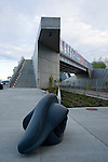 """Louise Bourgeois """"Eye Benches I, II, & III"""", 1996-97 guard the stairway at one of the entrances to the sculpture park."""