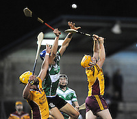 24th October 2013; Chris Crummey, Lucan Sarsfields, contests a high ball with Darren Kelly and Derek O'Reilly, Craobh Chiarain. Dublin County Senior Hurling Championship Semi-Final, Craobh Chiarain v Lucan Sarsfields, Parnell Park, Dublin. Picture credit: Tommy Grealy / actionshots.ie