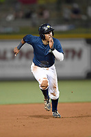 Third baseman Milton Ramos (24) of the Columbia Fireflies runs the bases in a game against the Charleston RiverDogs on Friday, June 9, 2017, at Spirit Communications Park in Columbia, South Carolina. Columbia won, 3-1. (Tom Priddy/Four Seam Images)