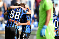 Luis Muriel of Atalanta BC celebrates after scoring the goal of 0-1 for his side with team mates Mario Pasalic and Alejandro Papu Gomez <br /> Roma 19-10-2019 Stadio Olimpico <br /> Football Serie A 2019/2020 <br /> SS Lazio - Atalanta<br /> Foto Andrea Staccioli / Insidefoto