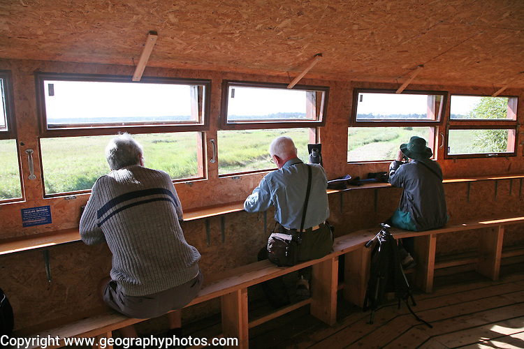 Birdwatching hide at Minsmere RSPB Reserve, Suffolk, England