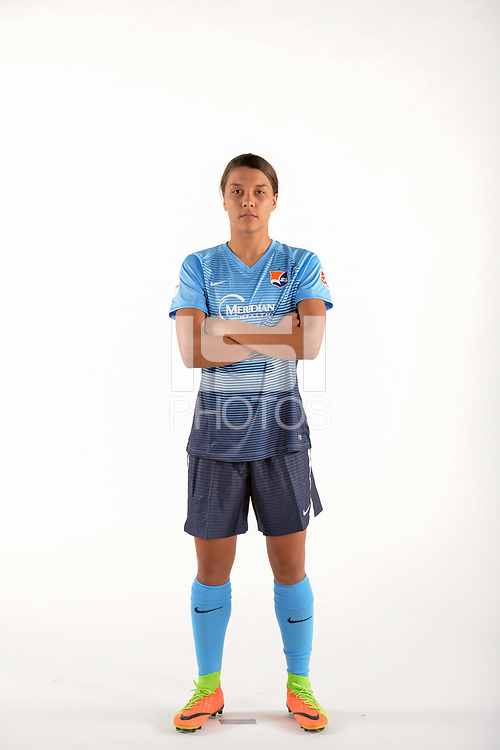 Belmar, NJ - Wednesday March 29, 2017: Samantha Kerr poses for photos at the Sky Blue FC team photo day.