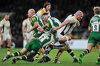 Jake Cooper-Woolley of Wasps takes on the London Irish defence. Aviva Premiership match, between London Irish and Wasps on November 28, 2015 at Twickenham Stadium in London, England. Photo by: Patrick Khachfe / JMP