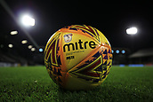 31st October 2017, Craven Cottage, London, England; EFL Championship football, Fulham versus Bristol City; Mitre Winter High Vis Yellow football on the pitch before kick off