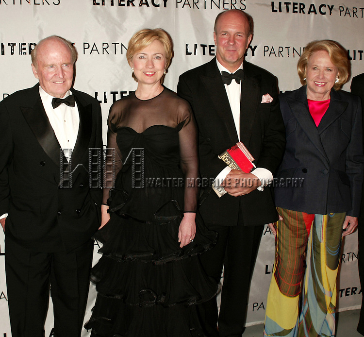 Jack Welch, Hillary Rodham Clinton, Simon Winchester and Liz Smith .Attending  the Literacy Partners 20th  Annual Gala,.AN EVENING OF READINGS at Lincoln Center, Honoring Tom Brokaw, Tim Russert and Jack Welch..May 3, 2004.