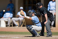 Tim Federowicz (19) of the North Carolina Tar Heels on defense versus the St. John's Red Storm at the 2008 Coca-Cola Classic at the Winthrop Ballpark in Rock Hill, SC, Sunday, March 2, 2008.