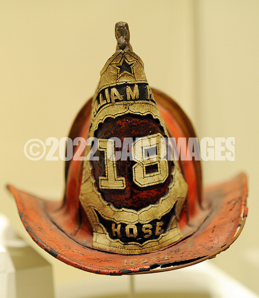 "An old William Penn fire company helmet on display during a special preview of the Mercer Museum's new exhibit ""To Save Our Fellow Citizens:"" Volunteer Firefighting, 1800-1875 Thursday April 23, 2015 in Doylestown, Pennsylvania. The exhibit tells the exciting story Philadelphia's volunteer firefighters and fire companies as the city grew and expanded during the 1800's.  (Photo by William Thomas Cain/Cain Images)"