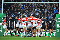 Ryoto Nakamura of Japan is congratulated by his team mates for spring a try during the Quilter International match between England and Japan at Twickenham Stadium on Saturday 17th November 2018 (Photo by Rob Munro/Stewart Communications)