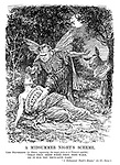 """A Midsummer Night's Scheme. Lord Beaverbrook (as Oberon, expressing the magic juice on to Titania's eyelids): """"What thou seest when thou dost wake, do it for thy true-love take."""" """"A Midsummer Night's Dream,"""" Act II., Scene 2. (Titania represents the Conservative Party while the Donkey represents Food Taxes)"""