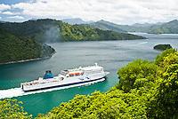 Interislander ferry in Queen Charlotte Sound leaving Picton - Marlborough, New Zealand