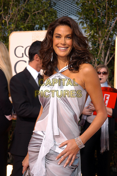 TERI HATCHER.62nd Annual Golden Globe Awards, Beverly Hills, Los Angeles, California.January 16th, 2005.half length, grey, gray white striped halterneck dress, bracelet.www.capitalpictures.com.sales@capitalpictures.com.Supplied by Capital Pictures.