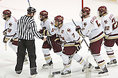 Brock Bradford, Nathan Gerbe, Peter Harrold, Tim Filangieri, Dan Bertram - The Boston College Eagles defeated Northeastern University Huskies 5-3 on Saturday, November 19, 2005, at Kelley Rink in Conte Forum at Chestnut Hill, MA.