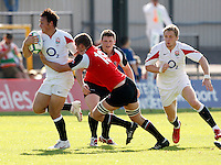Photo: Richard Lane/Richard Lane Photography. .IRB Junior World Championship. England U20 v Canada U20. 10/06/2008. England's Charlie Sharples attacks.