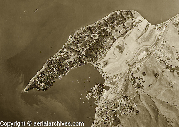 historical aerial photograph Belvedere Island Marin County California 1946