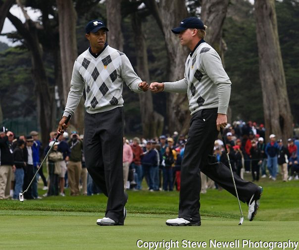 Tiger Woods and Steve Stricker at the 2009 President's Cup held Harding Park Golf Course in San Francisco, CA.  I was shooting for the San Francisco Examiner's website.