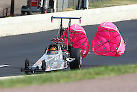 Jul. 20, 2013; Morrison, CO, USA: NHRA top dragster driver David Oenes during qualifying for the Mile High Nationals at Bandimere Speedway. Mandatory Credit: Mark J. Rebilas-
