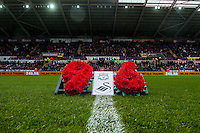 A wreath is placed  in honour of the ninety-six children, men and women who lost their lives at the FA Cup semi-final between Liverpool and Nottingham Forest at Sheffield Wednesday's Hillsborough stadium On April 15, 1989 prior to the Barclays Premier League match between Swansea City and Liverpool played at the Liberty Stadium, Swansea  on May the 1st  2016