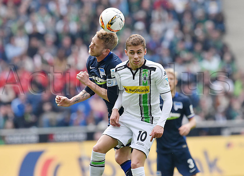 03.04.2016. Monchengladbach, Germany.  Bundesliga Football. Borussia Monchengladbach versus Hertha Berlin.   Fabian Lustenberger Hertha BSC against Thorgan Hazard Borussia Moenchengladbach