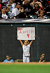 4 September 2009: A young Cleveland Indians fan displays a sign during a game against the Minnesota Twins at Progressive Field in Cleveland, Ohio. The Indians defeated the Twins 5-2 to take the first game of their three-game weekend series. Mandatory Credit: Ed Wolfstein Photo