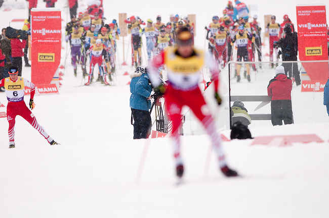 HOLMENKOLLEN, OSLO, NORWAY - March 15: Athletes waiting for their start at the cross country 10 km (4 x 2.5 km) competition at the FIS Nordic Combined World Cup on March 15, 2013 in Oslo, Norway. (Photo by Dirk Markgraf)