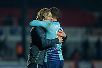 Wycombe manager Gareth Ainsworth celebrates with Joe Jacobson at full time of the Sky Bet League 2 match between Newport County and Wycombe Wanderers at Rodney Parade, Newport, Wales on 22 November 2016. Photo by Mark  Hawkins.