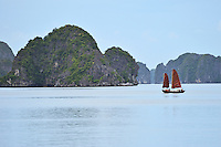 Sailing junk boats, Halong Bay, Vietnam