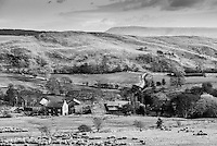 Dinkling Green farm looking towards Longridge Fell, Whitewell, Lancashire. Forest of Bowland.